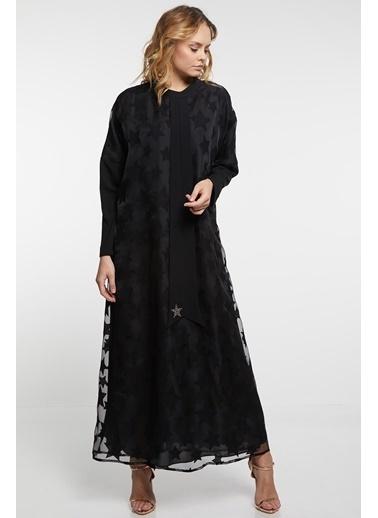 Vivencia Yıldız Şifon Detaylı Elbise  Siyah